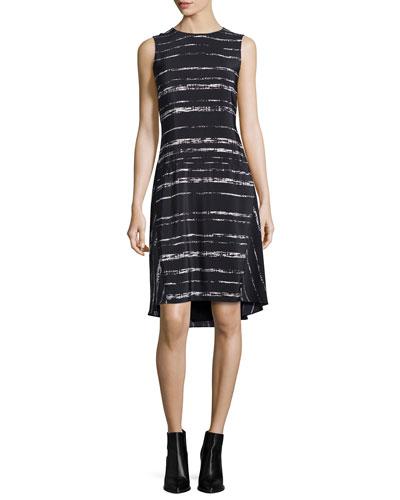 Shadow-Stripe Silk Drop-Waist Dress