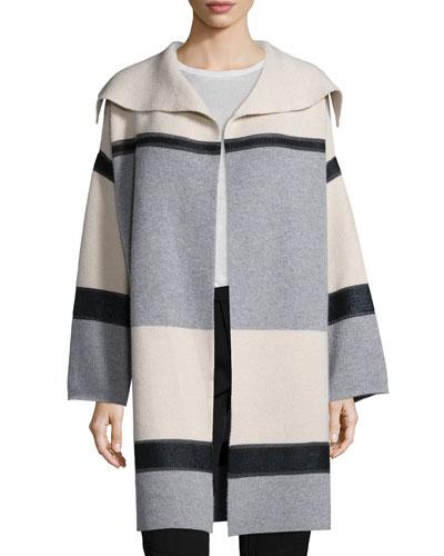 Colorblock Wool/Cashmere Car Coat