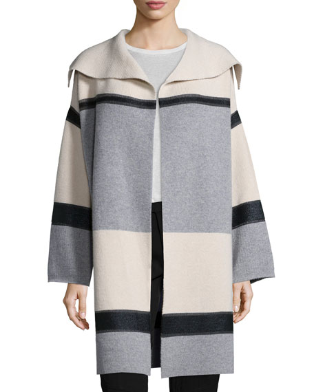 Vince Colorblock Wool/Cashmere Car Coat