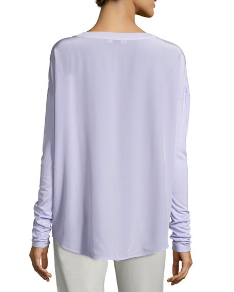 Mixed-Media Long-Sleeve Shirt