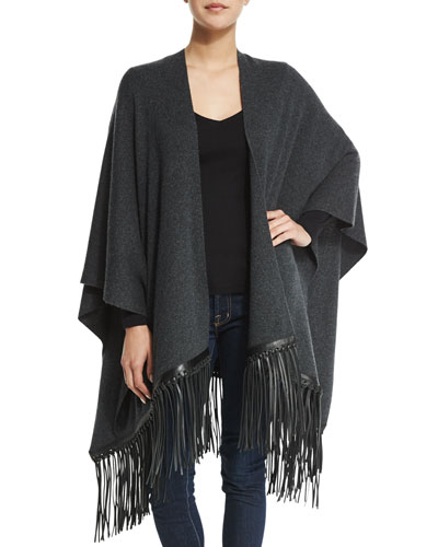 Luxe Cashmere-Blend Poncho with Leather Fringe