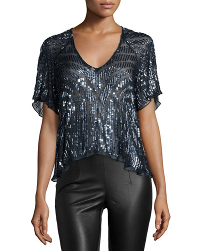 Lucas Beaded Short-Sleeve Top, Blue Gunmetal