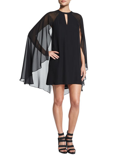 Bernadette Sheath Cape Dress, Black