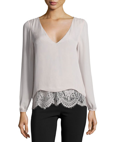 Rosedale Long-Sleeve Lace/Silk Combo Top, Dusk