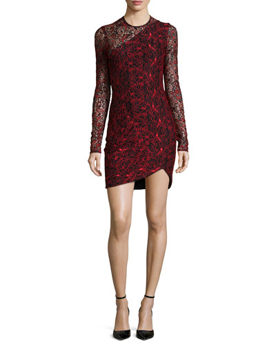 Shadow Long-Sleeve Combo Dress, Poinsettia