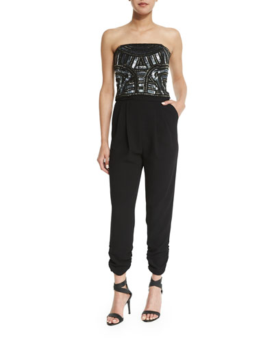 Giovanna Embellished Strapless Jumpsuit, Black
