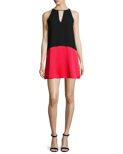Crosby Sleeveless Colorblock Dress, Poinsettia/Black
