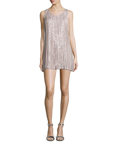 Bryant Sleeveless Mini Dress W/Fringe, Dusk