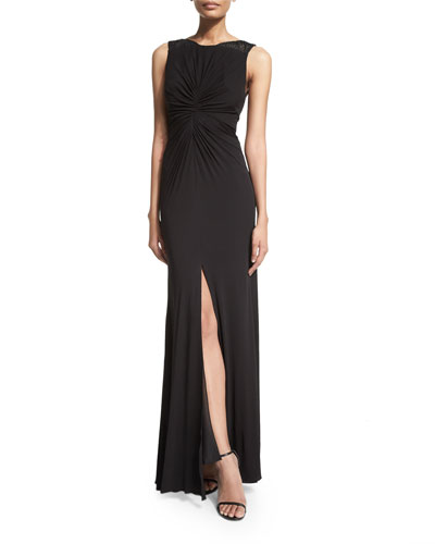 Sleeveless Ruched-Front Dress, Black