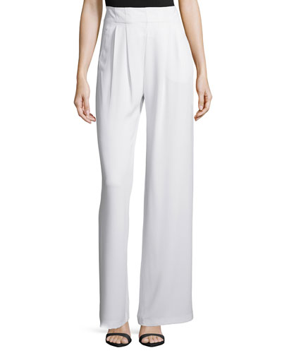 Eldora Wide-Leg Pleated Pants, Pearl