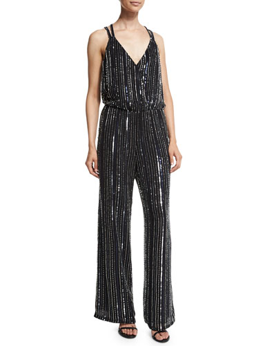 Donny Embellished Wide-Leg Jumpsuit, Black