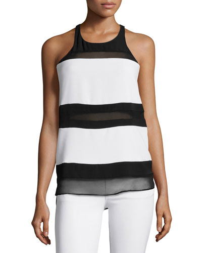 Macha Wide-Stripe Combo Top, Black/Pearl