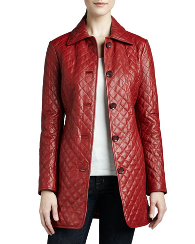 Quilted Long Leather Jacket