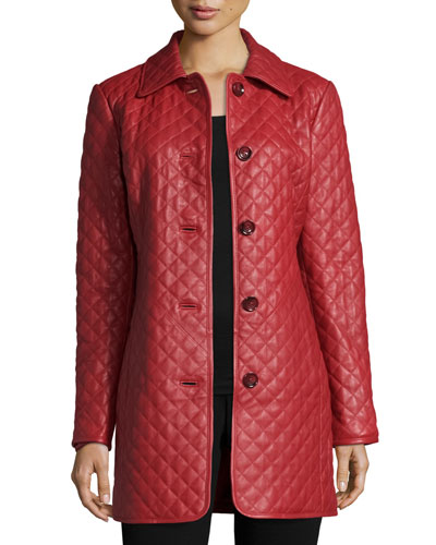 Quilted Long Leather Jacket, Women