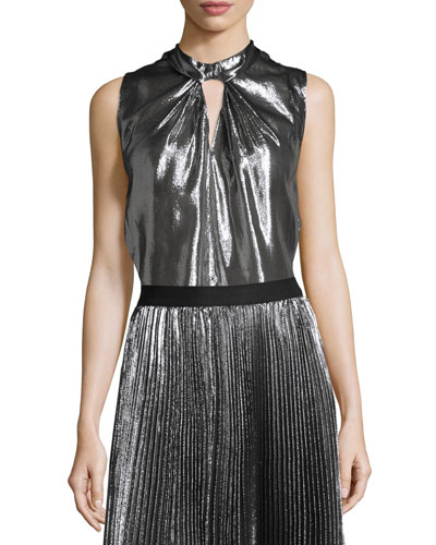 Sleeveless Twist-Front Metallic Top, Gunmetal