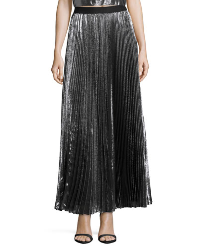 Pleated Metallic Maxi Skirt, Gunmetal