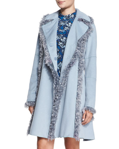 Melton Faux-Fur-Trim Wool-Blend Peacoat, Icicle Blue