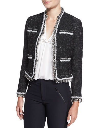 Rio Fringe-Trim Tweed Jacket, Black
