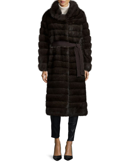 Long Sable Fur Coat, Silvery