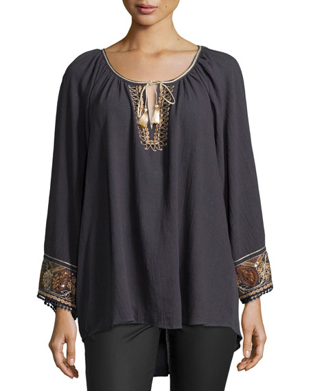 Calypso St. Barth Alna Embellished Gauze Top, Coal