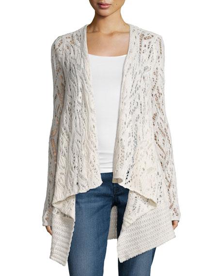 Calypso St. Barth Locuan Drape-Front Cashmere Sweater, Ivory