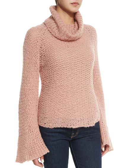 Cherita Long-Sleeve Crochet Sweater, Rose Quartz