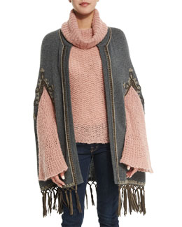 Boleda Cashmere Sweater Cape W/Fringe Trim, Derby Gray