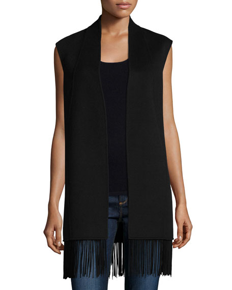 Neiman Marcus Cashmere Collection Double Woven Vest with Fringe Trim