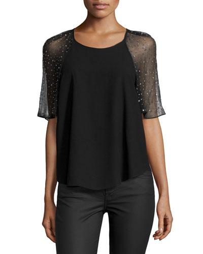 Short-Sleeve Embellished Chiffon Trim, Black