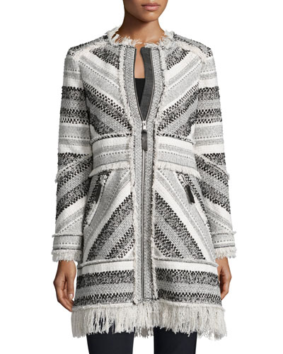 Artisan Chevron-Knit Fringe-Trim Coat, Black/White