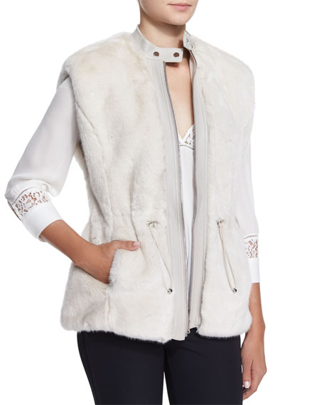 Rebecca Taylor Faux-Fur Leather-Trim Drawstring Vest, Polar Bear
