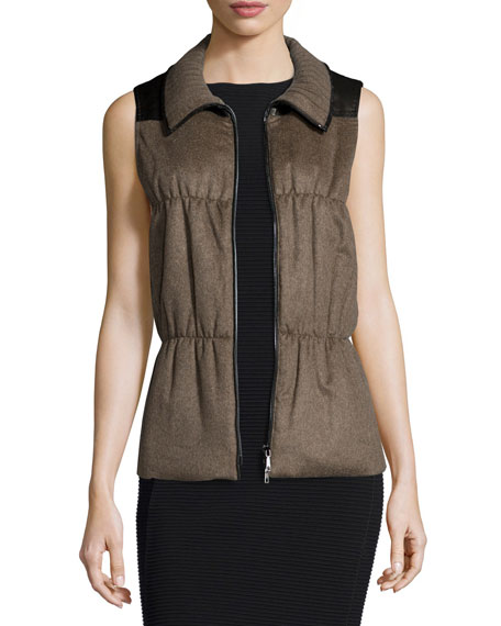 Lafayette 148 New York Colt Cashmere Puffer Vest, Porcini Melange