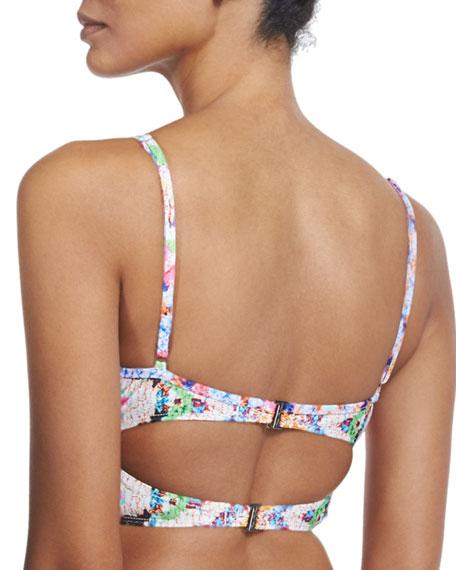 Rainbow-Printed Underwire Bustier Swim Top