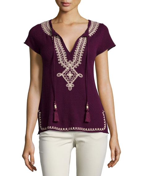 Calypso St. Barth Solney Embroidered Cashmere Sweater, Plum