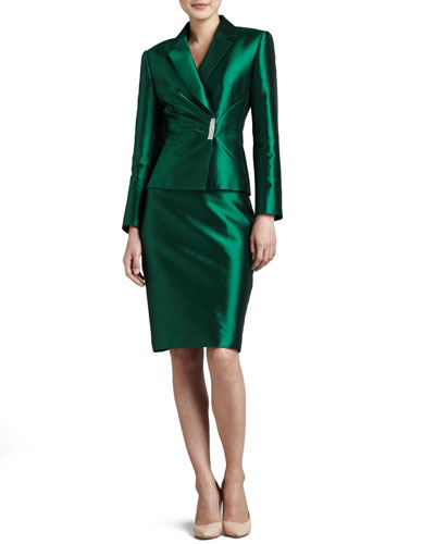 Pleated-Jacket Skirt Suit, Emerald