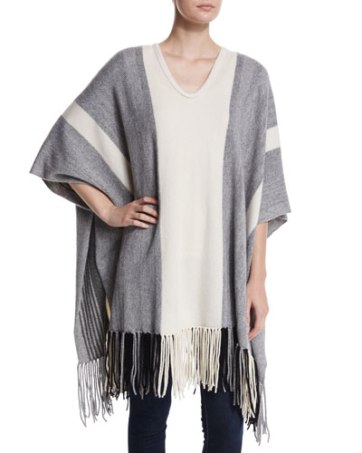 Myrtle Striped Poncho with Fringe