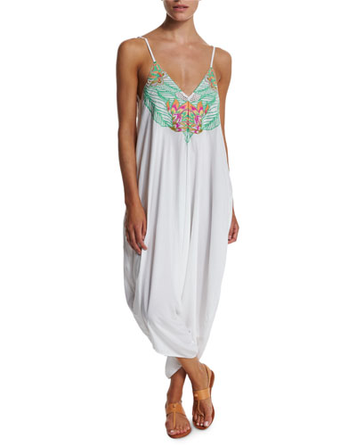Floral-Embroidered Jumpsuit Coverup