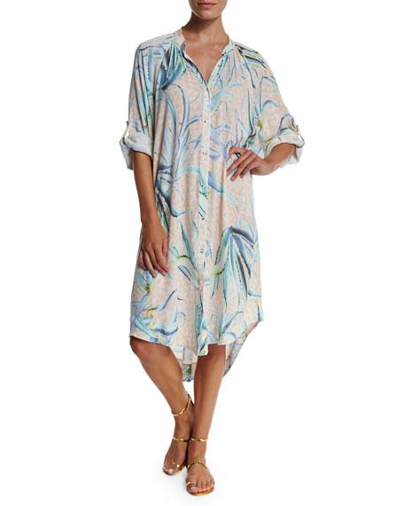 Mara Hoffman Aloe Printed Button-Down Shirtdress Coverup