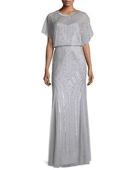 Aidan Mattox Beaded Flutter-Sleeve Chiffon Gown, Silver