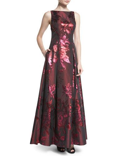 Sleeveless Metallic Floral Jacquard Ball Gown