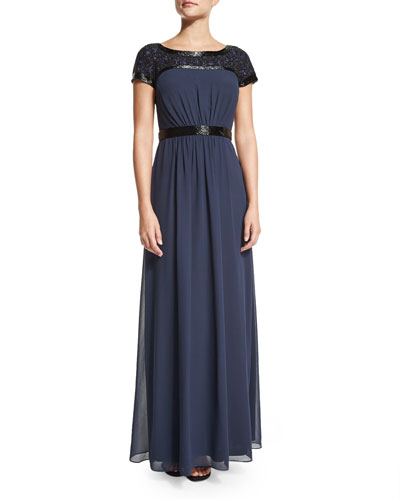 Short-Sleeve Beaded-Trim Georgette Gown
