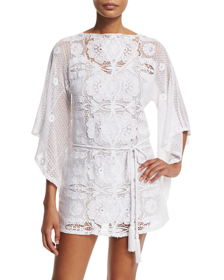Miguelina Claudia Floral-Crochet Coverup Dress