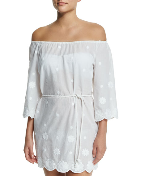 Miguelina Bree Embroidered Off-the-Shoulder Coverup Dress