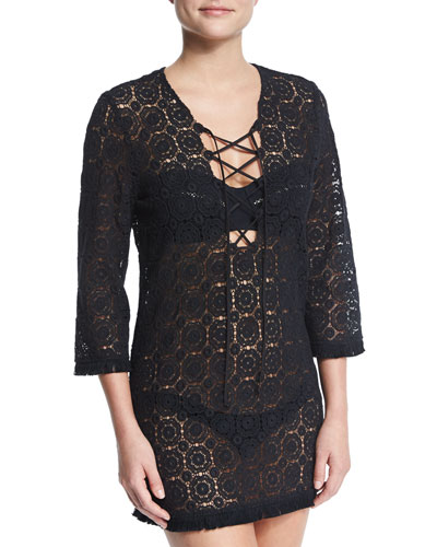 Serena Crocheted-Lace Coverup Dress