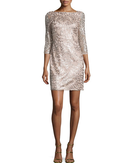 Aidan by Aidan Mattox 3/4-Sleeve Leaf-Pattern Sequined Dress