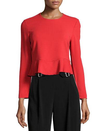 Ann Long-Sleeve Crop Top, Tomato