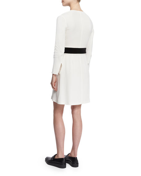Carter Zip-Front Crepe Dress, White