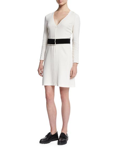 A.L.C. Carter Zip-Front Crepe Dress, White