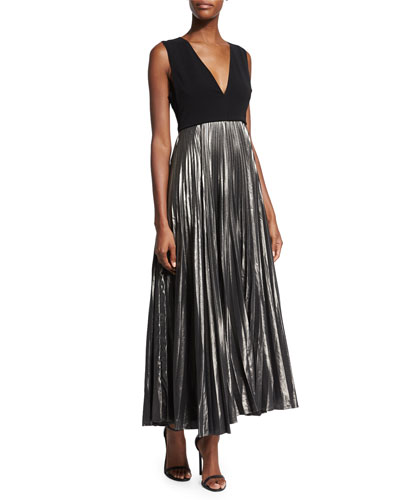 Emilia Pleated Metallic Maxi Dress, Black/Gunmetal