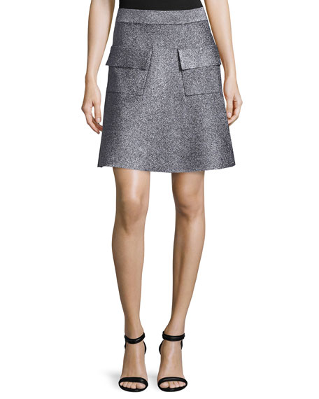 A.L.C. Aaron Metallic A-Line Skirt, Silver